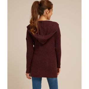 Vince burgundy hooded wool open front cardigan
